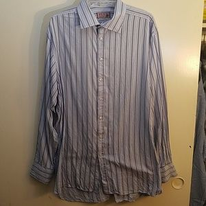 THOMAS PINK Blue Striped Shirt, 18 / 37